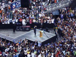 Obama Waving to Crowd
