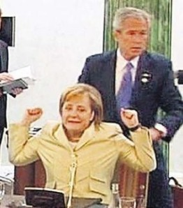 Bush massages Merkel