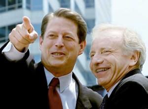 Former VP Gore with Traitor Joe Lieberman in 2000