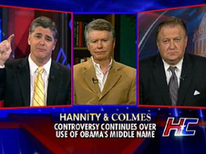 Hannity discussing Obama\'s middle name