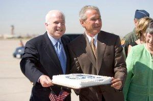 Bush and McBush share a cake