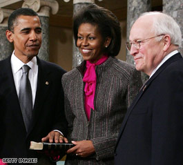 Is that the Bible Cheney and Obama are holding?