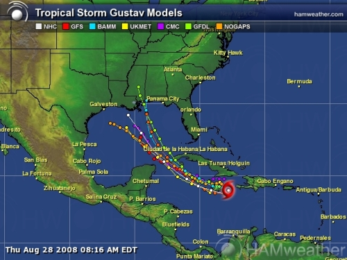 Tropical Storm Gustav Spaghetti Model 1