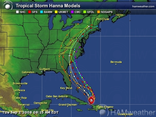 Hurricane Hanna Spaghetti Model 3