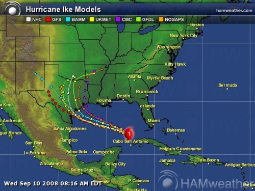 Hurricane Ike Spaghetti Model 3