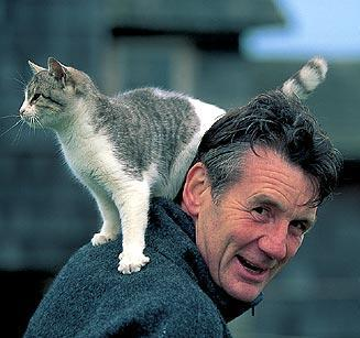 Monty Python's Michael Palin and cat