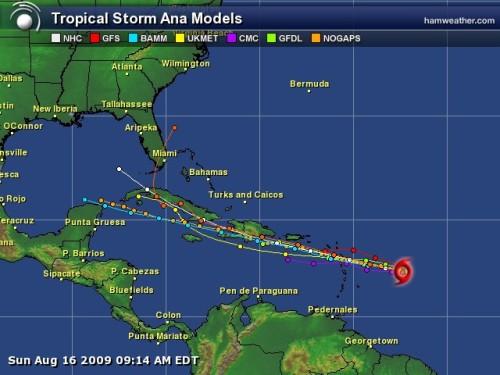 Tropical Storm Ana - Spaghetti Model