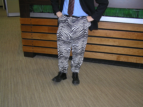 Zubaz and a suit.  Now that's class